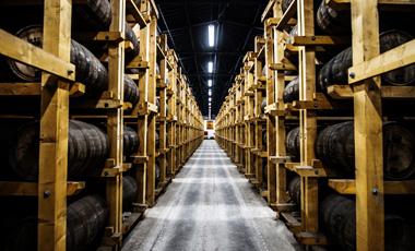 Rezbárska sála svyrezávaným obrazom asklady zrenia whisky